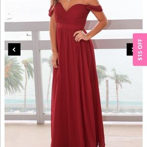 Deep red ball gown